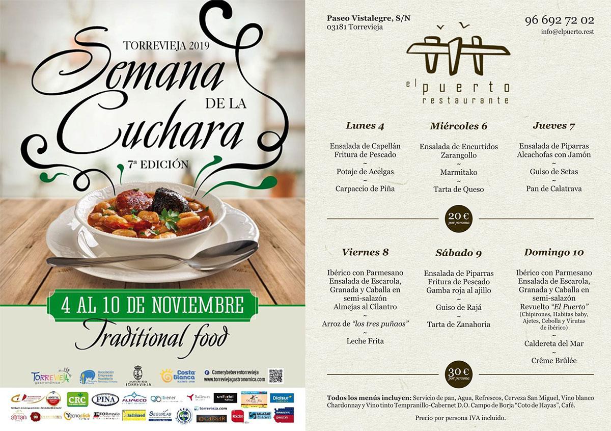 Semana de la Cuchara 2019 - Menú Restaurante El Puerto